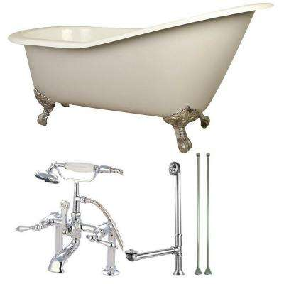 Slipper 5 ft. Cast Iron Clawfoot Bathtub in White with Faucet Combo in Chrome