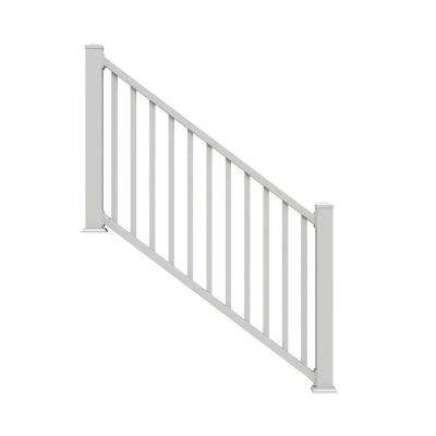 Select White 3.5 ft. Vinyl Stair Rail Kit with Square Balusters