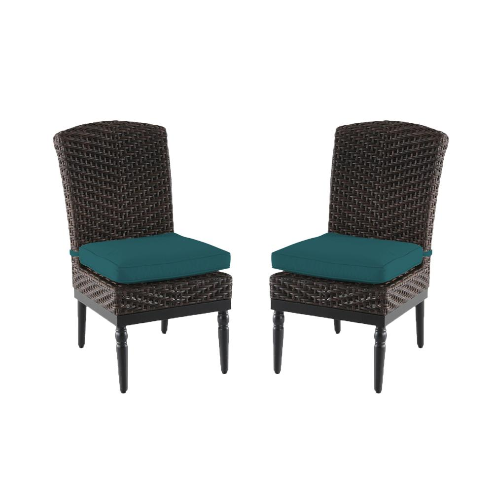 Camden Dark Brown Wicker Outdoor Patio Armless Dining Chair with Sunbrella Peacock Blue-Green Cushions (2-Pack)
