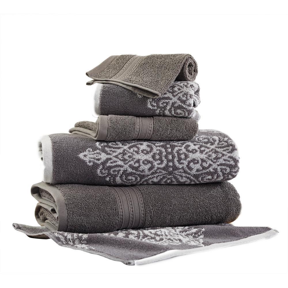 Artesia Damask 6-Piece Cotton Bath Towel set in Platinum