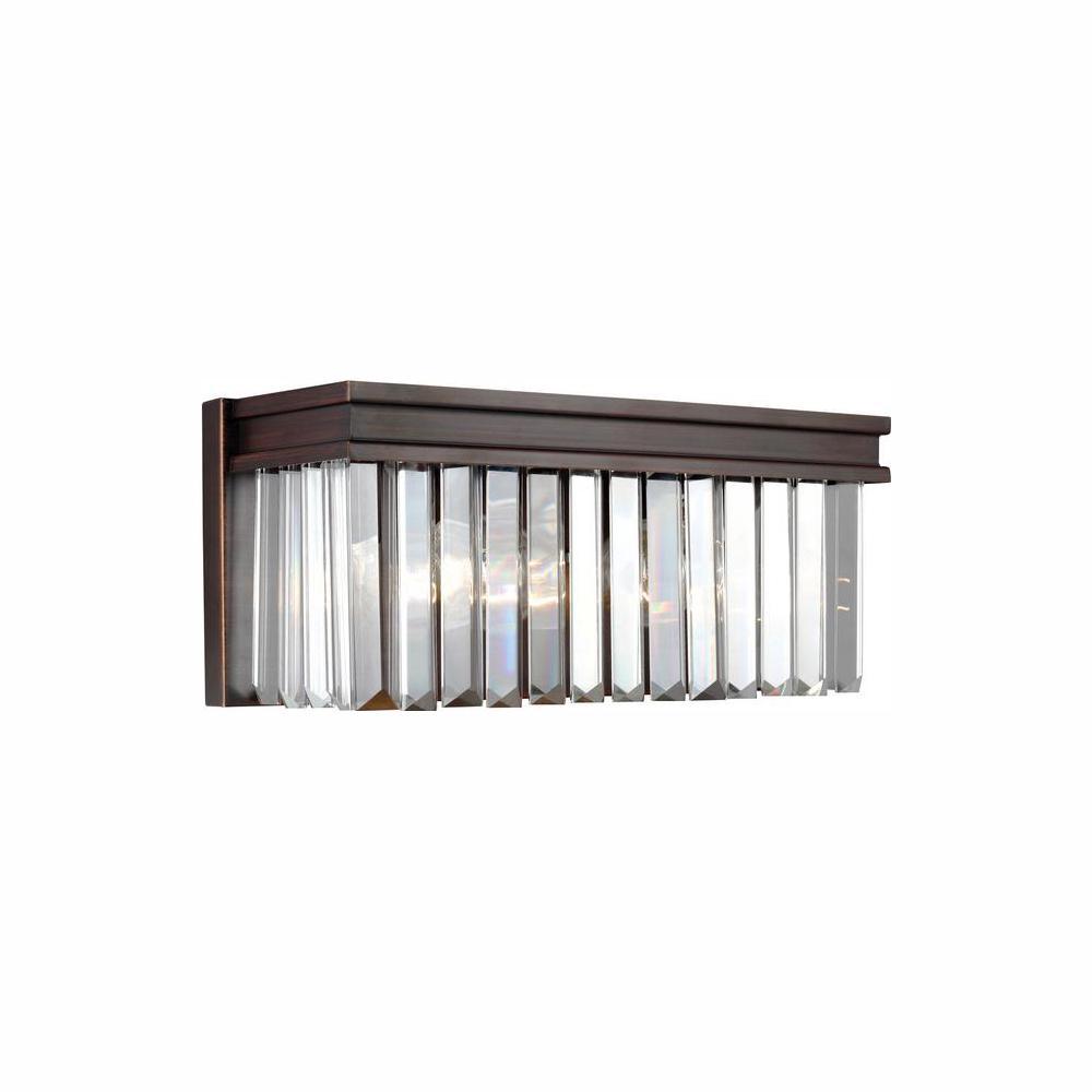 Carondelet 2-Light Burnt Sienna Bath Light with LED Bulbs
