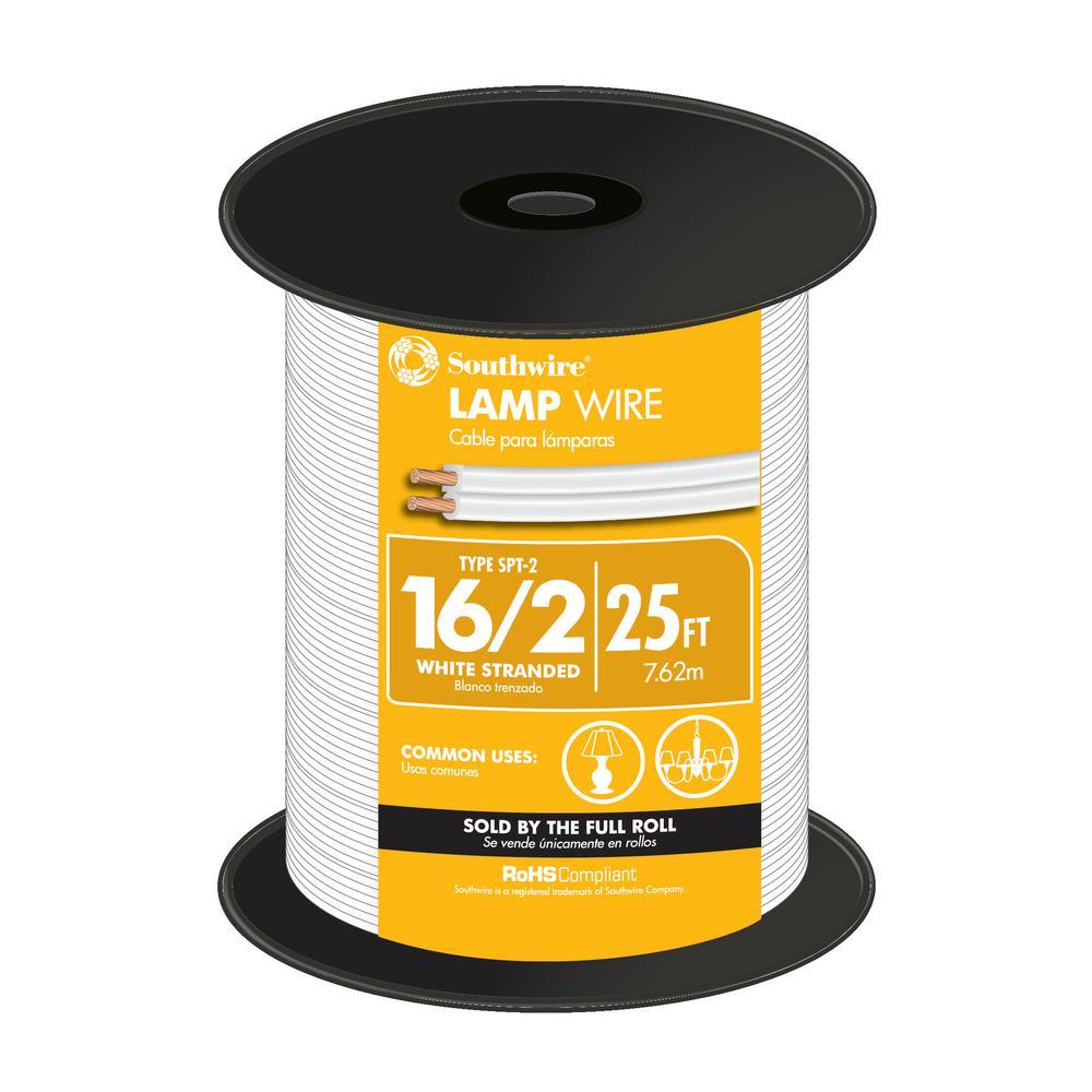 16/2 White Stranded CU SPT-2 Lamp Wire