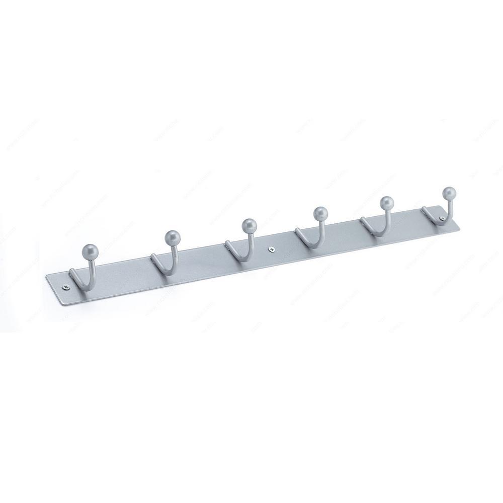 Richelieu Hardware 19-1/2 in. Hook Rack Silver Metal 6 Single Hook Bar