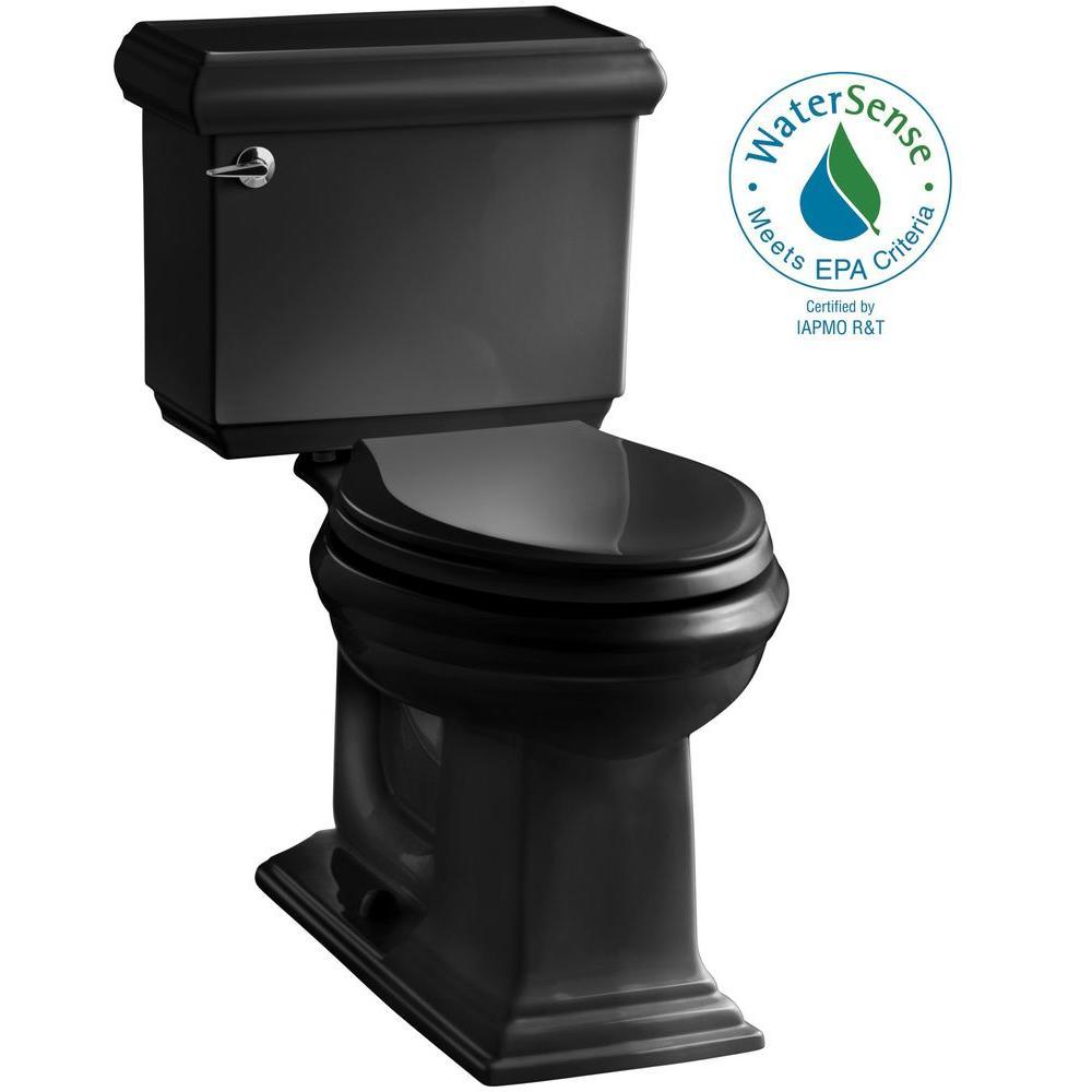 Memoirs Classic 2-piece 1.28 GPF Single Flush Elongated Toilet with AquaPiston Flush Technology in Black Black