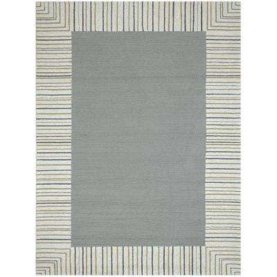 Pizazz Silver Striped Border 2 ft. x 3 ft. Indoor/Outdoor Area Rug
