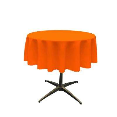 58 in. Orange Polyester Poplin Round Tablecloth