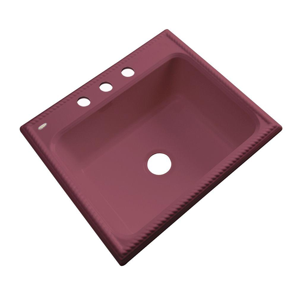 Thermocast Wentworth Drop-In Acrylic 25 in. 3-Hole Single Basin Kitchen Sink in Raspberry Puree