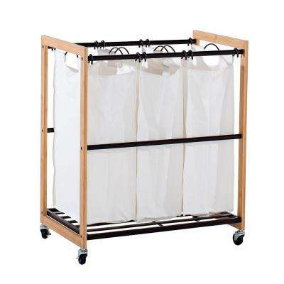 EcoStorage Wheeled 3-Bag Bamboo Laundry Cart
