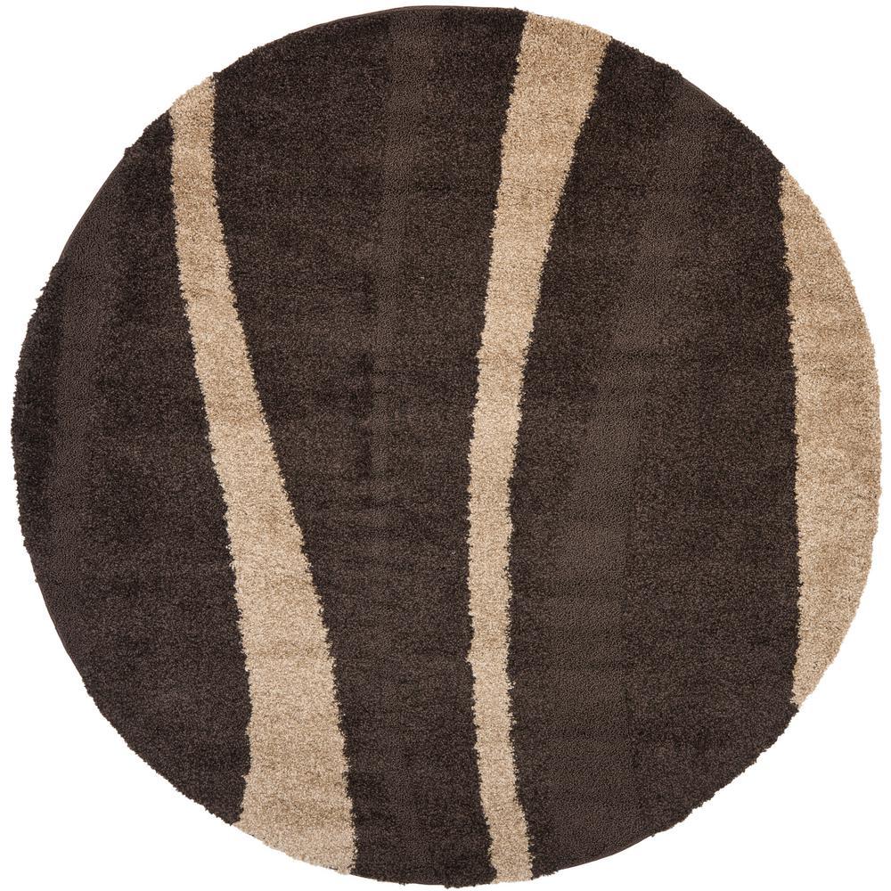 Florida Shag Dark Brown/Beige 7 ft. x 7 ft. Round Area Rug