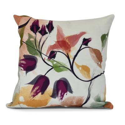 Windy Bloom Floral Print Throw Pillow