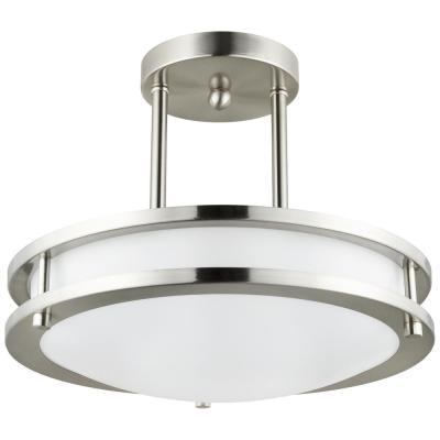 12 in. 1 Light Brushed Nickel Energy Star Dimmable LED Semi-Flush Mount Ring Pendant Fixture