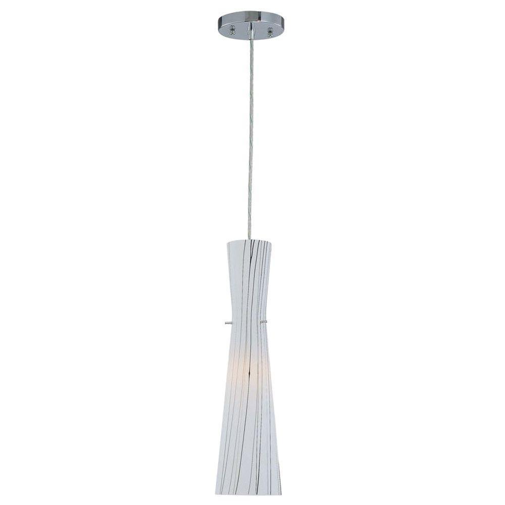 Illumine 1-Light Pendant Striped Glass Polished Steel Finish