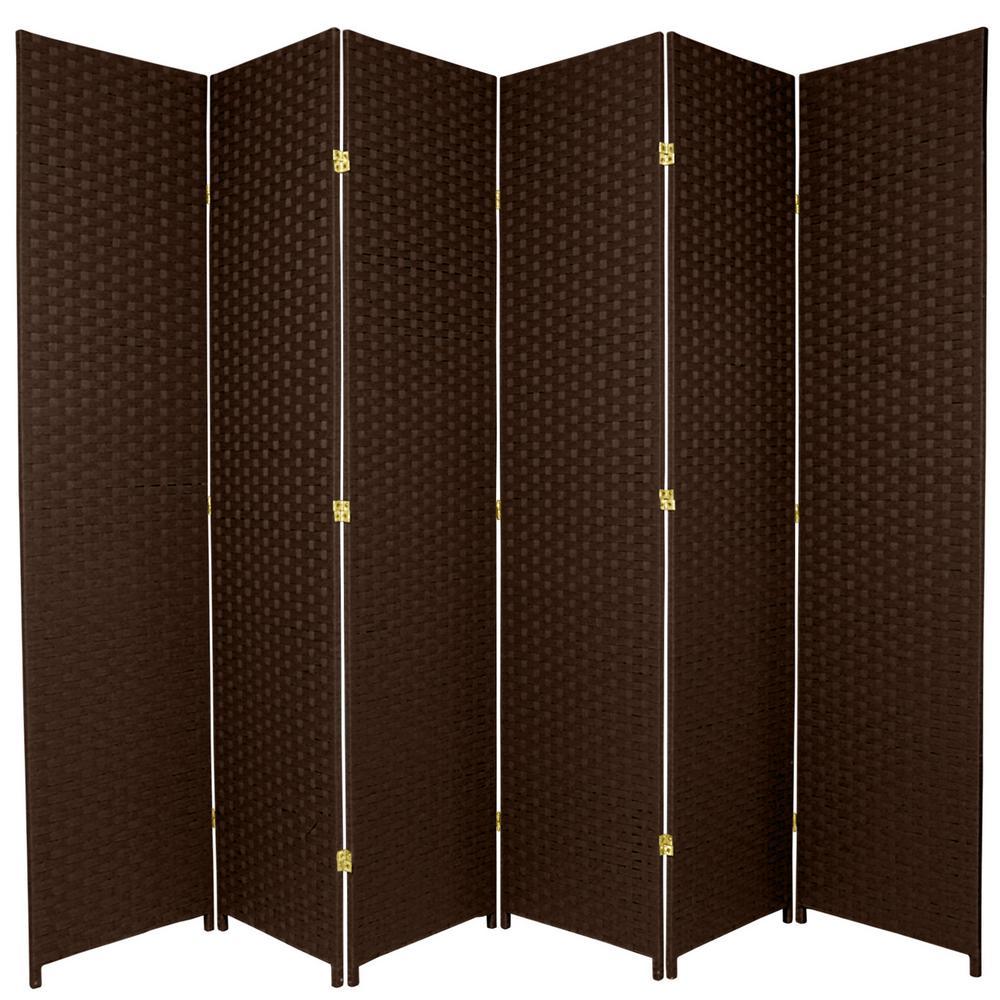 7 Ft Dark Mocha 6 Panel Room Divider