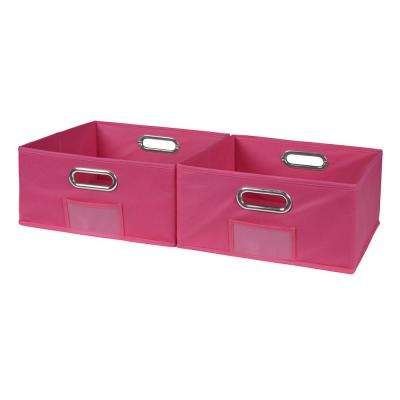 Cubo 12 in. x 6 in. Pink Folding Fabric Bin (2-Pack)