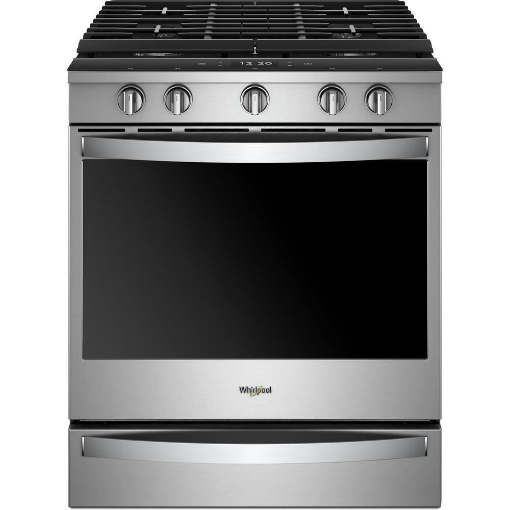 Whirlpool 5 8 cu  ft  Smart Slide-In Gas Range with EZ-2-LIFT Hinged  Cast-Iron Grates in Fingerprint Resistant Stainless Steel