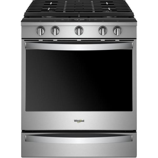 5.8 cu. ft. Smart Slide-In Gas Range with EZ-2-LIFT Hinged Cast-Iron Grates in Fingerprint Resistant Stainless Steel