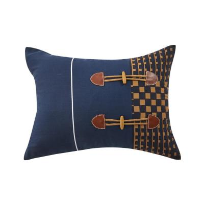 Alexander Navy Geometric Polyester 16 in. x 16 in. Throw Pillow