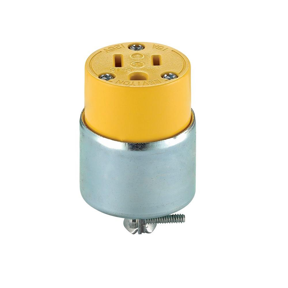 Leviton 30 Amp 480-Volt 3-Phase Locking Grounding Connector, Yellow ...