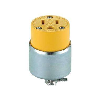 15 Amp Round Dead Front Connector, Yellow