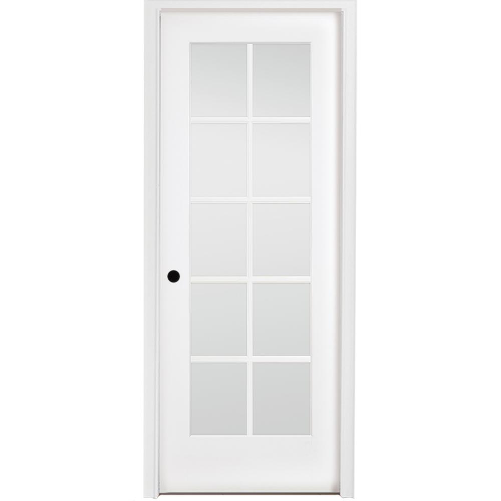 36 in. x 80 in. 10-Lite French White Primed Right Hand