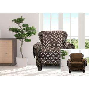 Coby Chocolate Reversible Water Resistent Microfiber Chair Cover