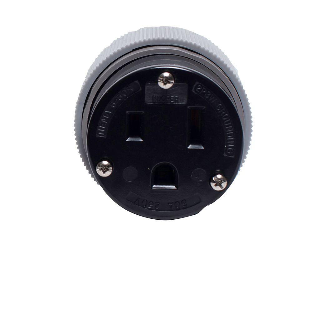 50 Amp 250-Volt 6-50 Power Connector - Gray and Black