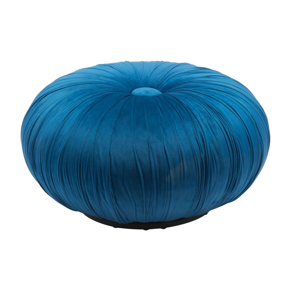 Bund Blue Velvet Accent Ottoman