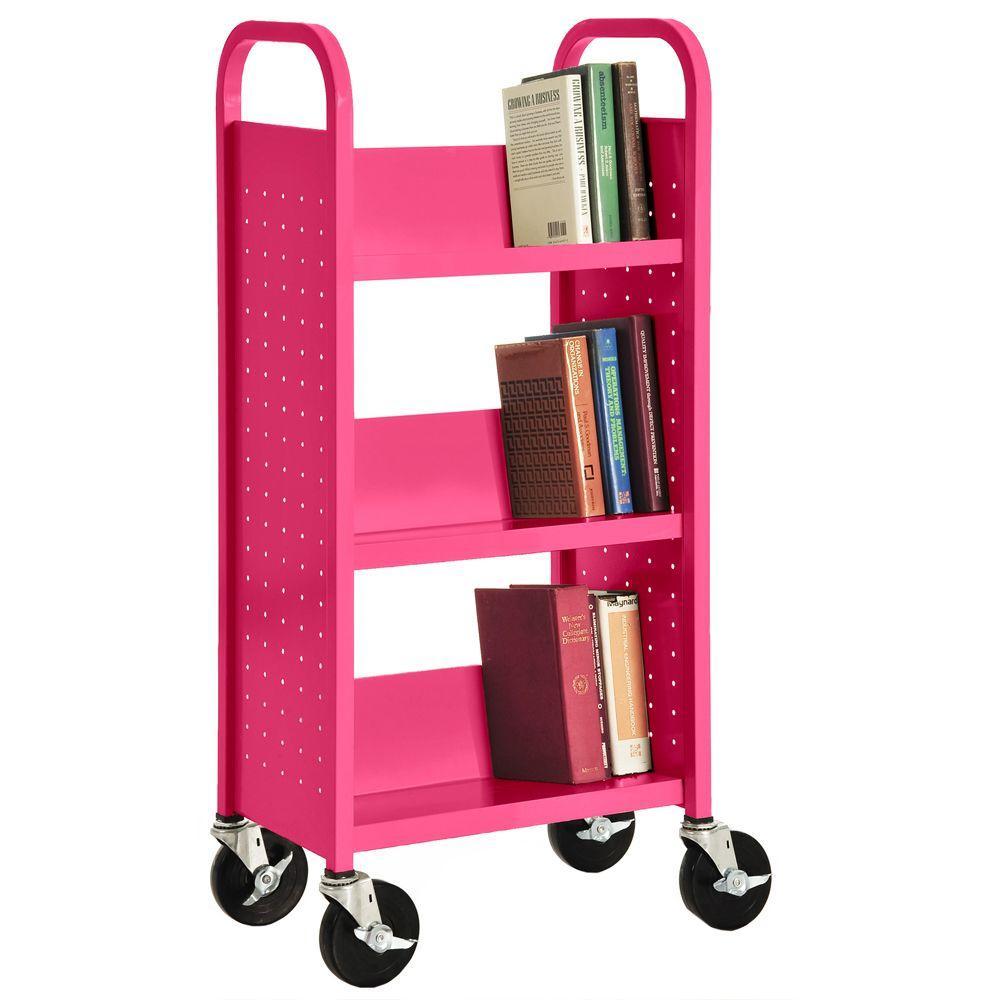 Sandusky Pom Pink Mobile 3 Shelf Steel Bookshelf