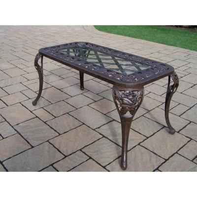 Tea Rose Antique Bronze Aluminum Outdoor Coffee Table