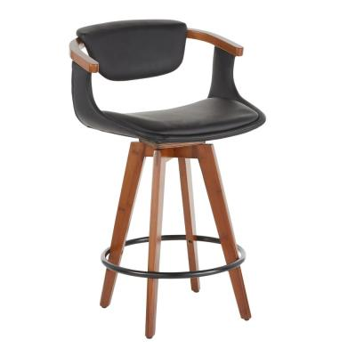 Oracle 26 in.  in Black Faux Leather  and Walnut Mid-Century Modern Counter Stool