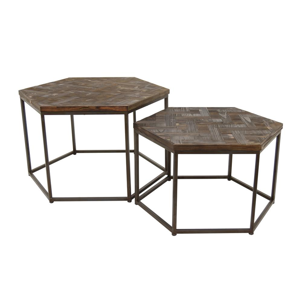 THREE HANDS 20 in. Brown Wood/Metal Accent Table (Set of 2)-74566 ...