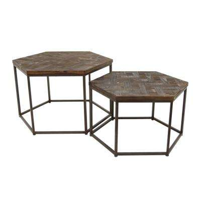 Brown Wood Metal Accent Table Set Of 2
