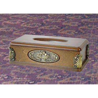 11 in. W x 6 in. D x 3.1 in. H Classic Wood Tissue Box Holder with Gold Plaque