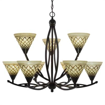 9-Light Black Copper Chandelier with 7 in. Chocolate Icing Glass