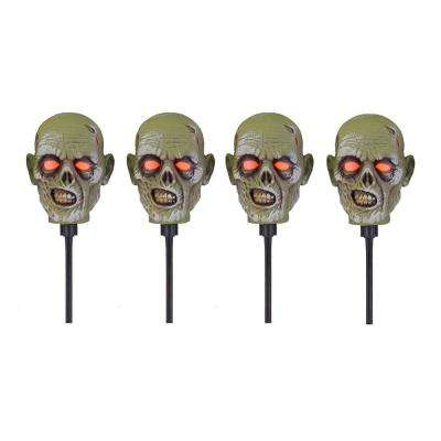 15 in. Zombie Head Pathway Markers with LED Illumination (4-Set)
