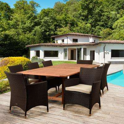 Bruce 9-Piece Wood Rectangular Outdoor Dining Set with Off-White Cushions