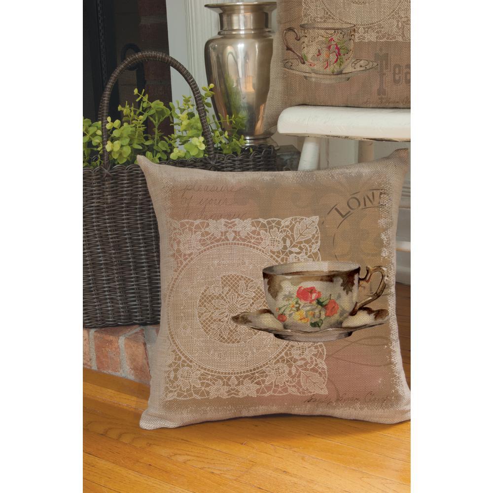 Downton Tea Natural Postmark Decorative Pillow