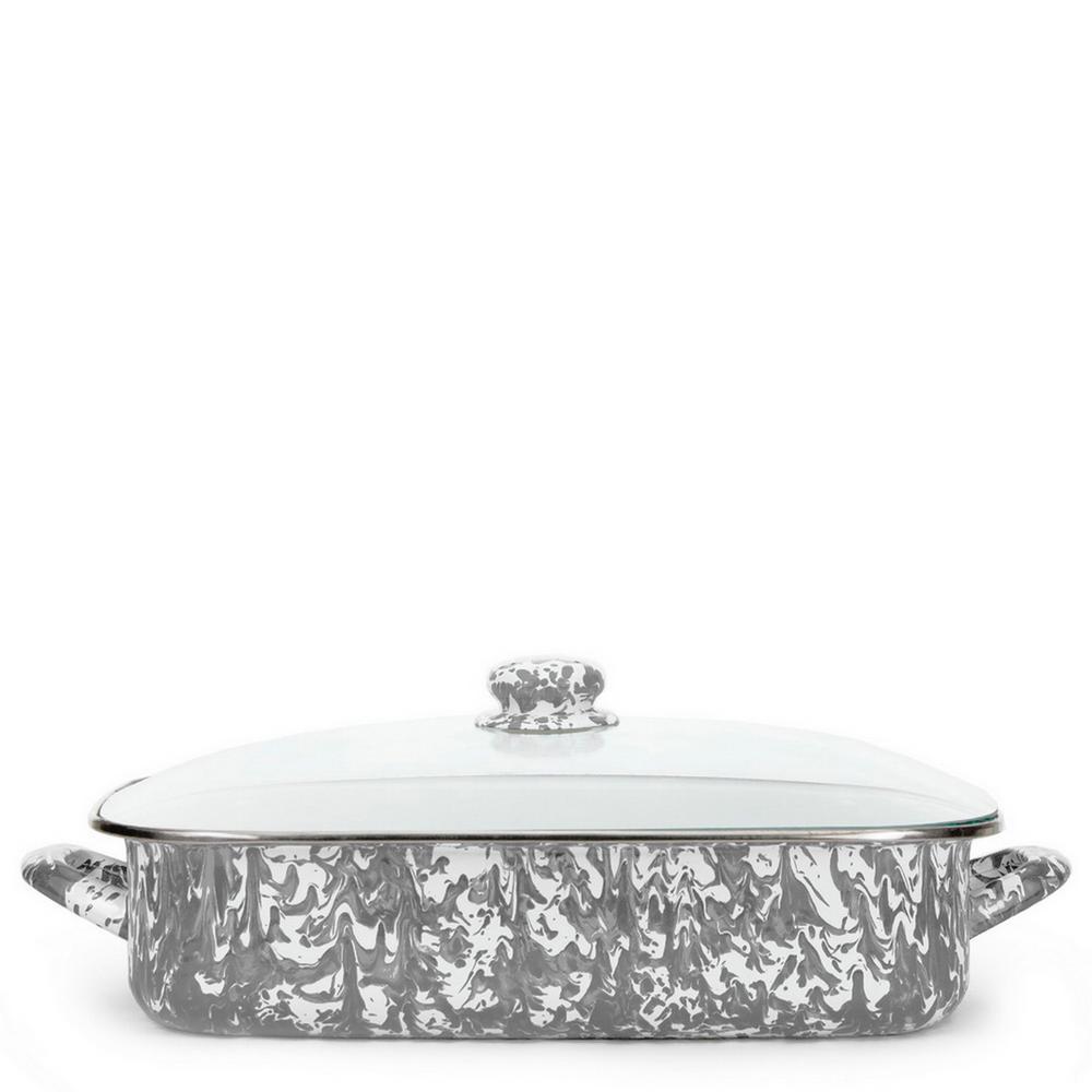 Grey Swirl 10.5 qt. Enamelware Roasting Pan with Lid