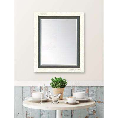 30 in. x 36 in. Framed French White Large and Indigo Mirror