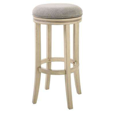 "Victoria 30"" Bar Height Swivel Stool in Distressed Ivory finish and Paradigm Quartz fabric"