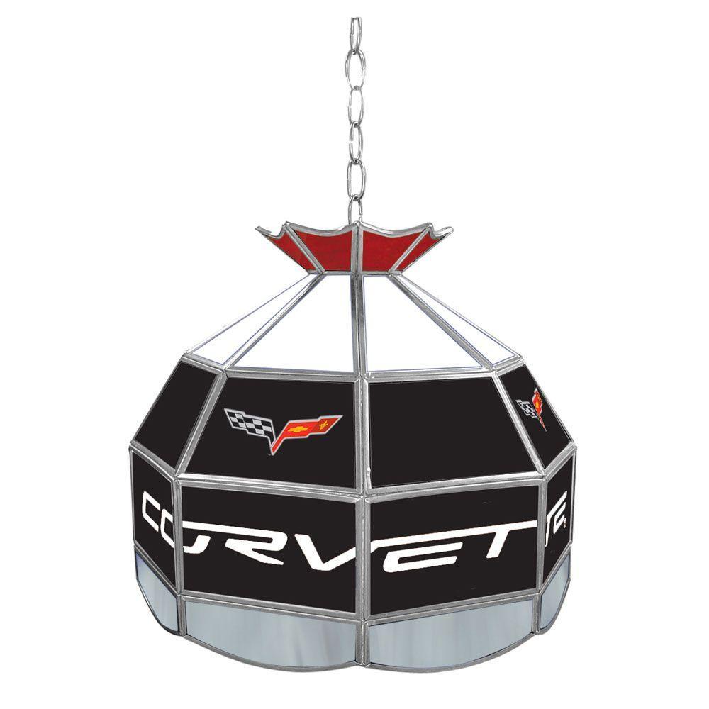 Trademark Corvette 16 in. Silver Hanging Tiffany Style Billiard Lamp