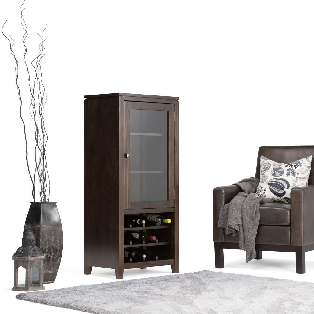 Simpli Home Cosmopolitan 12-Bottle Coffee Brown Bar Cabinet-AXCCOS ...