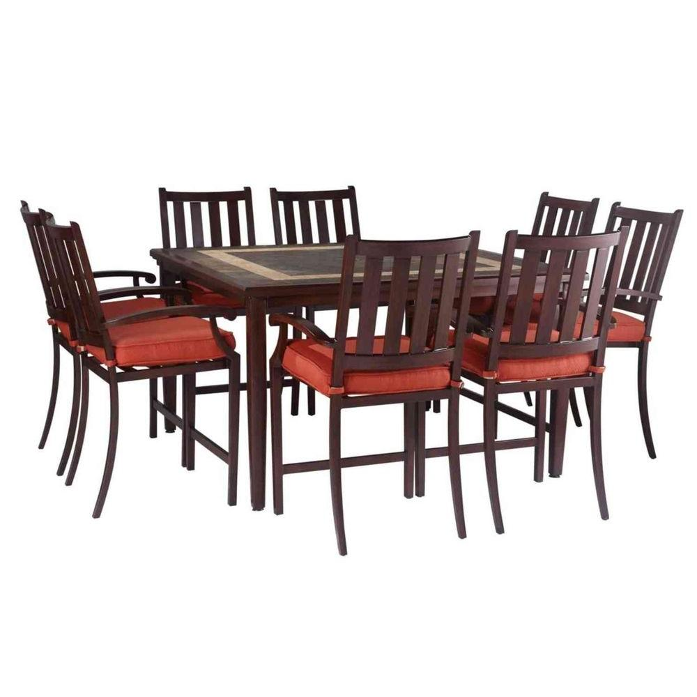 Hampton Bay Broadwell High Patio Dining Chair with Red Cushion (Set of 4)-DISCONTINUED