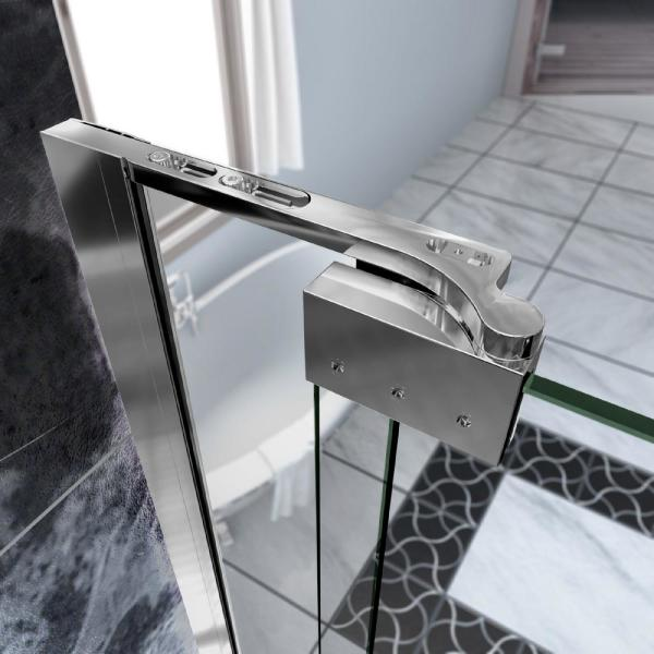Dreamline Allure 50 In To 51 In X 73 In Frameless Pivot Shower Door With Clear Glass Door In Chrome Shdr 4250728 01 The Home Depot