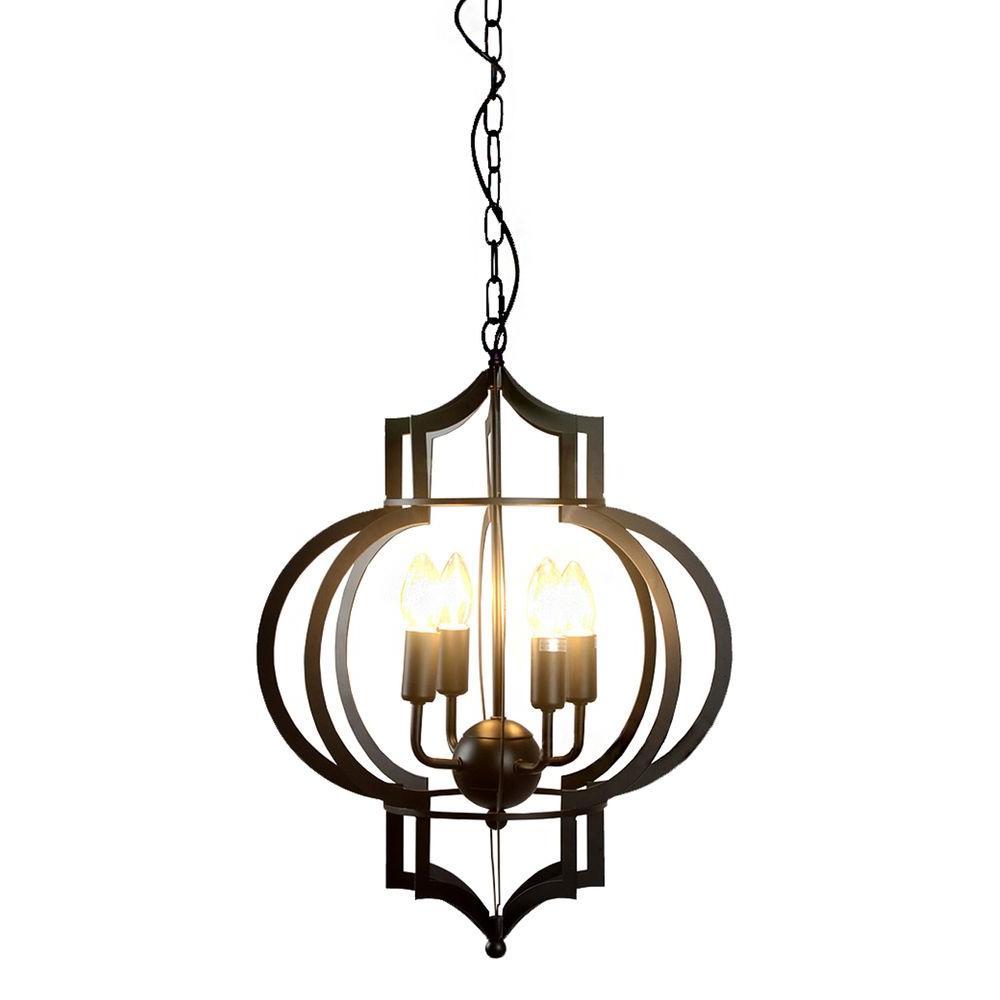 Edison Addison Collection 4 Light Black Indoor Chandelier