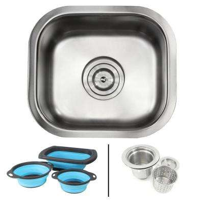 Undermount 18-Gauge Stainless Steel 13 in. Single Bowl Kitchen / Bar Sink in Satin Pearl Finish with Silicone Colanders