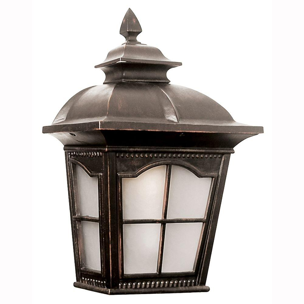 Energy Saving 1-Light Outdoor Antique Rust Wall Pocket Lantern with Frosted