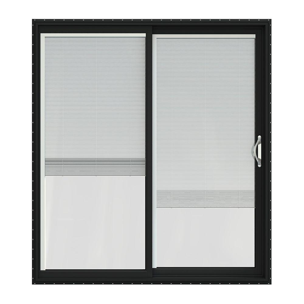72 in. x 80 in. V-2500 Bronze Painted Vinyl Right-Hand Full Lite Sliding Patio Door w/White Interior & Blinds
