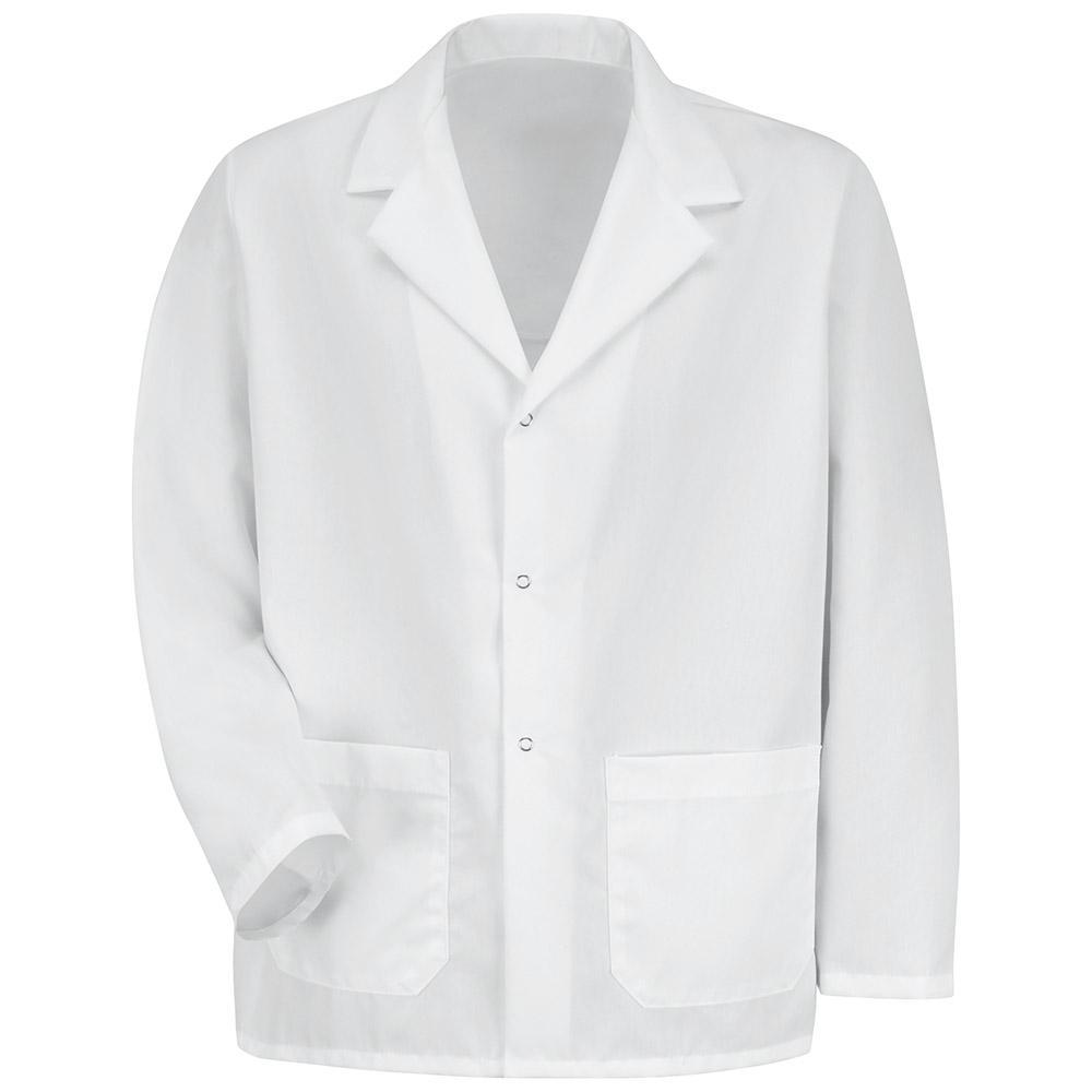 Men's Size L White Specialized Lapel Counter Coat