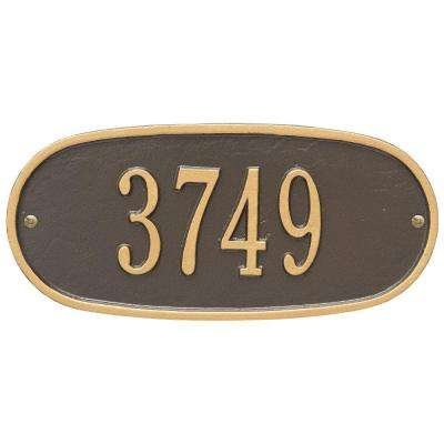 Standard Oval Bronze/Gold Wall 1-Line Address Plaque
